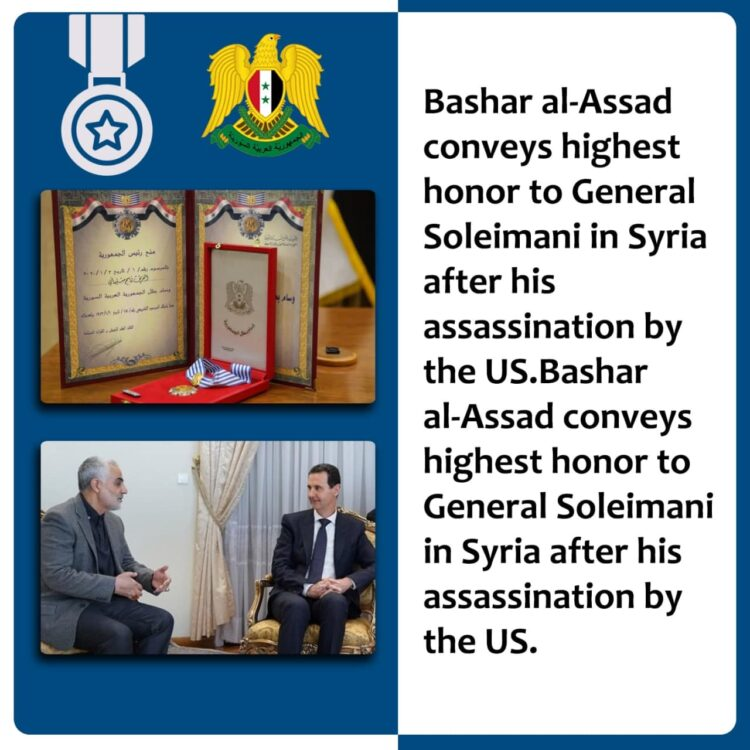 Bashar al-Assad conveys highest honor to General Soleimani in Syria after his assassination by the US